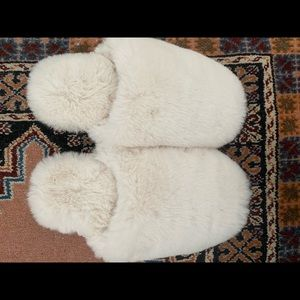 White fluffy slippers